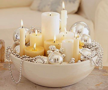 holiday centerpiece-candles-ornaments