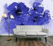 Indigo-Poppies-Wallpaper-Mural-645x561